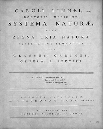 Title page of Systema Naturae, Leiden, 1735 Linne-Systema Naturae 1735.jpg