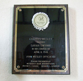 Sarah Wesley - Plaque at Llanlleonfel church, to the west of Builth Wells