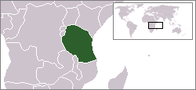 A map showing the location of Tanzania