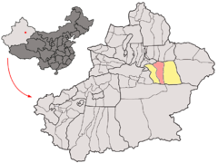 Location of Turpan City within Xinjiang (China).png