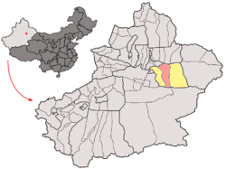 Location of Karahoja (red) in Turpan Prefecture (yellow) and Xinjiang
