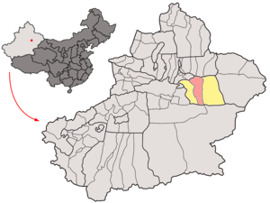 Gaochang District - Image: Location of Turpan City within Xinjiang (China)