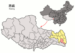Location of Zogang County within Tibet