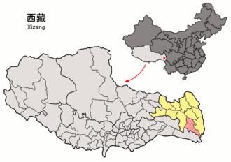 Zogang County - Image: Location of Zogang within Xizang (China)