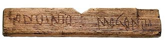 "Etymology of London - A tablet from c. 65 AD, reading ""Londinio Mogontio""- ""In London, to Mogontius"""
