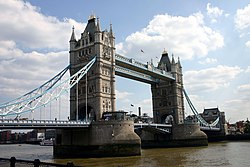 Tower Bridge crosses the River Thames next to the Tower of London. See also: Sequence showing the bridge opening.