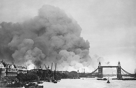Smoke rising from fires in the London docks, following bombing on 7 September London Blitz 791940.jpg