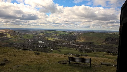 Looking towards Manchester from Pots and Pans Hill. Saddleworth