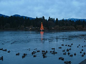 Lost Lagoon - Lost Lagoon, showing Jubilee Fountain decorated for Christmas in December 2006.