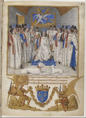 Order of Saint Michael - King Louis XI sitting in his throne, in the room a painting of St. Michael killing a serpent. Title page of the Order's statutes, drawn by Jean Fouquet in the 15th century. Bibliothèque Nationale, fr. 19819