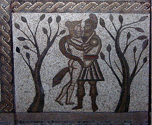Low Ham Roman Villa - Aeneas and Dido on the mosaic