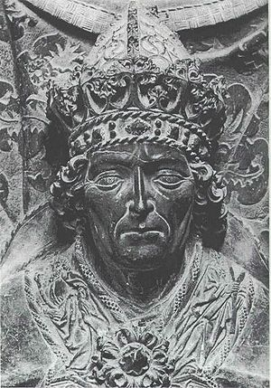 Louis IV, Holy Roman Emperor - Portrait of Louis IV (on a late gothic graveplate made of red marble in 1468 by Hans Haldner), tomb in the Frauenkirche of Munich