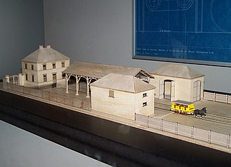 Bavarian Ludwig Railway - Model of the first Fürth station of 1835 in the Nuremberg Transport Museum