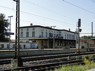 Ludwigslust station - Station building from the track side