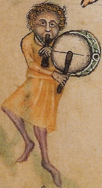 Tabor (instrument) - Pipe and tabor player, c. 1325–1335