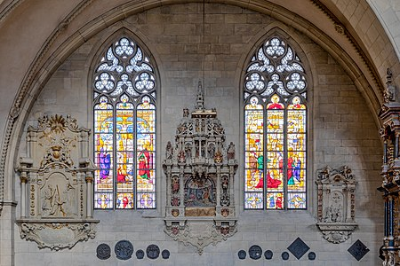 Windows in northern aisle of St Paul's Cathedral in Münster, North Rhine-Westphalia, Germany