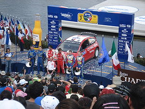 The winner's podium at the 2008 Rally Mexico. ...