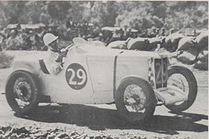 1937 Australian Grand Prix - Winner Les Murphy (MG P-type), pictured during the race.