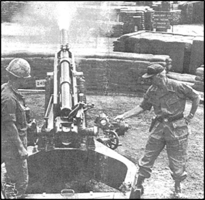 25th Infantry Division Artillery (United States) - Major General Ellis W. Williamson pulls the lanyard to fire the 900,000th round used by the 1st Battalion, 8th Artillery since the unit came to Vietnam in January 1966.  The round was fired from Fire Support Base Pershing.