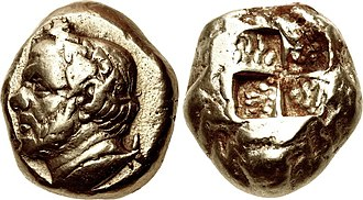 Timotheus (general) - Possible portrait of Timotheos, wearing a victory wreath, on an electrum stater of Kyzikos, mid 4th century BC.