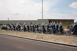 Marching and Cycling Band HHK - Performing in Haarlem on the bicycle