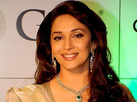 Madhuri Dixit in 2012; she is considered one of the greatest actresses of Indian cinema for her critical and commercial success during the 1980s and 1990s. Madhuridixit.jpg