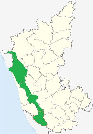 Malenadu - Malenadu region shown in Green