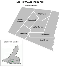 Union councils of Malir Town