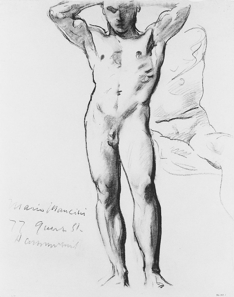 Man Standing, Hands on Head