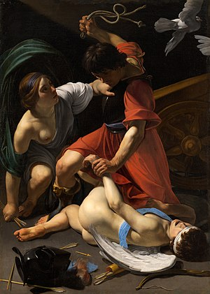 "Caravaggisti - ""Mars Chastising Cupid"" by Bartolomeo Manfredi (1582-1622)"