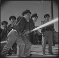 Manzanar Relocation Center, Manzanar, California. A practice fire drill gives the local fire depart . . . - NARA - 536949.tif