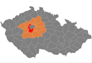 Prague-West District - Image: Map CZ district Praha zapad
