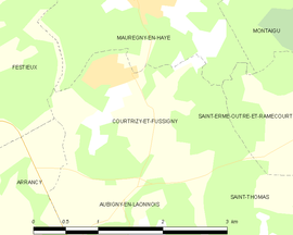 Mapa obce Courtrizy-et-Fussigny