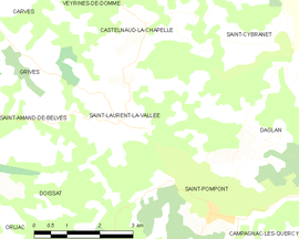 Mapa obce Saint-Laurent-la-Vallée