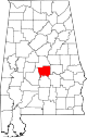Map of Alabama highlighting Autauga County.svg