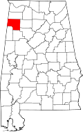 Map of Alabama highlighting Marion County