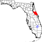 A state map highlighting Volusia County in the middle part of the state. It is large in size.