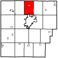 Location of Allen Township in Hancock County.