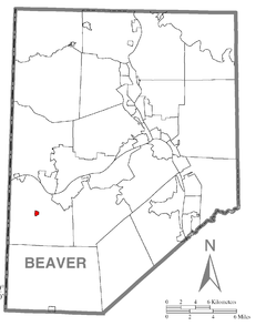 Map of Hookstown, Beaver County, Pennsylvania Highlighted.png