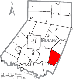 Map of Indiana County, Pennsylvania Highlighting Buffington Township.PNG