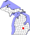 State map highlighting Shiawassee County