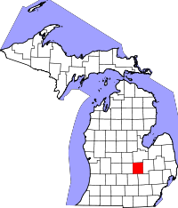 Map of Michigan highlighting Shiawassee County.svg
