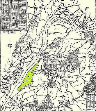 Jiangxin Island - Map of Nanjing, 1929 - Jiangxin Island shaded in green