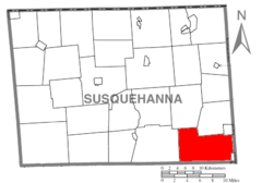 Map of Susquehanna County Pennsylvania highlighting Clifford Township.PNG