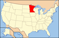 Map of the USA highlighting Minnesota