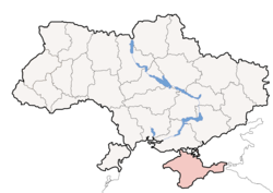 Location of Crimea (red) with respect to Ukraine (white).