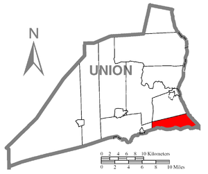 Union Township, Union County, Pennsylvania - Image: Map of Union County, Pennsylvania Highlighting Union Township