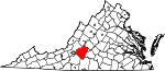 State map highlighting Bedford County