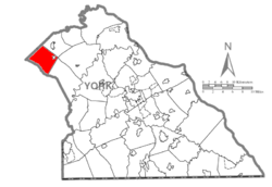 Map of York County, Pennsylvania highlighting Franklin Township