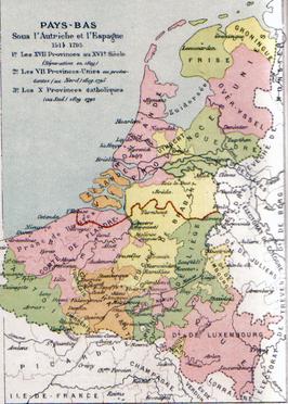 Kaart van de Zeventien Provinciën met in rood de lijn van de scheiding tussen de Noordelijke en de Zuidelijke Nederlanden in 1648